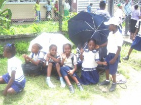 These children sat outside their school compound yesterday hoping for a change of heart by their teachers.