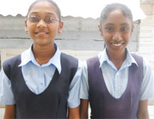 Top students of Cotton Tree Primary: Alaika Sulaman (left) and Fazina Kaleem.