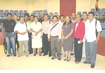 The new Toshaos council. Amerindian Affairs Minister Pauline Sukhai is third from right in front row. (See page 13) (GINA photo)
