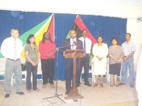Ending the speculation: Incumbent Robert Corbin as he announced his candidacy for PNCR leader at a special briefing at Congress Place yesterday.  He is flanked by his supporters (from left to right) MP Dr George Norton, Beni Rayman, Lurlene Nestor, party vice-chairs Basil Williams and Volda Lawrence and MPs Amna Ally and Dave Danny.