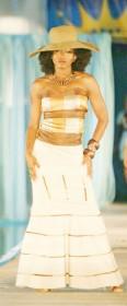 Model Leslyn Lashley struts her stuff in a Sonia Noel design at Guyana Fashion Weekend.