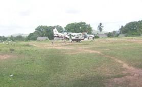 A plane at the Aishalton airstrip last week Wednesday.