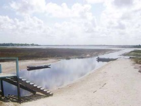 Shown is the eastern side of Capoey Lake, on the Essequibo Coast. Residents say the steps shown the left of the picture were covered by water a few weeks ago.