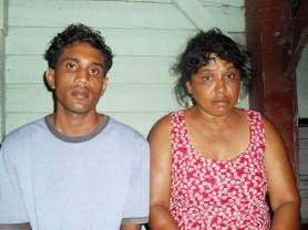 Poonwassie's son, Viren Veerasammy (left) and her sister, Kawalah Dabidyol