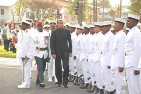 President Bharrat Jagdeo inspects the troops