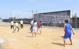 Some of the volleyball action at the Better Hope Community Centre ground during the Day of Interaction.
