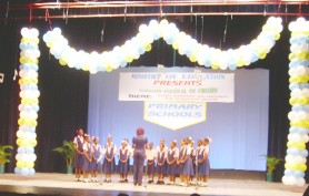 Winner at the Primary Schools Festival of Choirs, Hopetown Primary performs its national song.