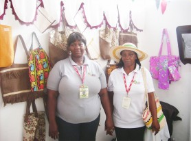 Petal Frank (left) and her sister Doreen Morrison (right) standing in their GuyExpo booth. Morrison is wearing a woven hat and bag made by her sister.