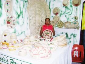 Amanda Mahadeo displays her handicraft at the Sophia Exhibition Centre for GuyExpo 2009. (Photo by Gaulbert Sutherland).