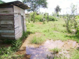 The persons who once occupied this house in the yard were forced to evacuate the property because of the extent of the flooding which makes ingress and egress impossible.