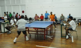 Action in the Kenneth De Abreu league table tennis tournament which got underway on Saturday at the Malteenoes Sports Club. (Aubrey Crawford photo)
