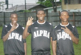 Gold Diggers! Alpha United's goal scorers, Andrew Murray, Dwayne Jacobs and Anthony Harding. (Orlando Charles photo)