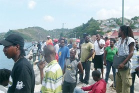 A section of the crowd that flocked the cruise ship terminal, St. George's, Grenada yesterday to get a glimpse of the Island Princess which was found drifting nearby the day before. (Photo courtesy of Karol Maitland, MTV Grenada, WI)