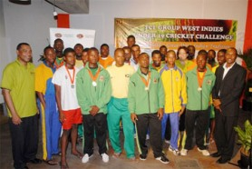 The West Indies U-19 team members seen here with representatives of the TCL Group following their selection at the conclusion of the 2009 TCL Group W.I. U-19 Cricket Challenge in Jamaica.