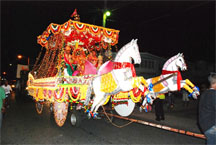 A float depicting Lord Krishna returning victorious from battle with his chariot, part of last year's annual motorcade, which left the Shri Krishna Mandir and travelled through Kitty, Campbellville and the lower East Coast to end at the La Bonne Intention (LBI) Community Centre Ground for judging. (Stabroek News  file photo)