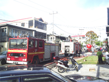 Lined up in a row: Fire tenders, used to battle the Regent Street inferno, on Charlotte Street early yesterday.