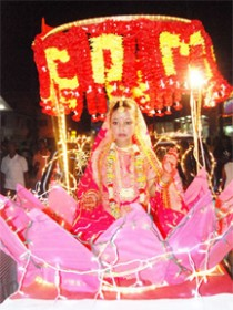 The Guyana Divya Jyoti Association float depicting the Goddess Laxmi in the Guyana Hindu Dharmic Sabha motorcade this year. (Stabroek News file photo)