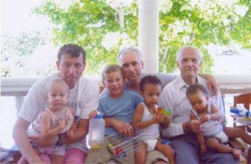 David de Caires with son Brendan (centre), son-in-law Mike Atherton and his four grandchildren