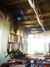 The damaged first form classroom at Richard Ishmael Secondary