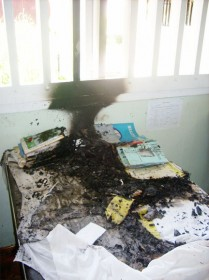 A desk in the first form teachers' staffroom that was set afire early yesterday morning.