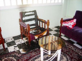 A teachers' sitting room where an attempt was made to set one of the school's buildings ablaze.
