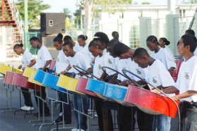 The National Schools' Steel Orchestra performing at the launch of the National Schools' Choir and Steel Orchestra