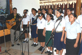 Hinterland students honoured the memory of Dr Desrey Fox by way of song yesterday at the Umana Yana.