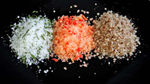 Flavoured salts: Rosemary, red pepper and cumin (jeera) (Photo by Cynthia Nelson)