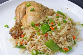 Vegetable Fried Rice & Roast Chicken (Photo by Cynthia Nelson)