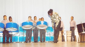 Flashback: The St John Bosco Boys Steel band on stage with conductor Colgrain Whyte at the Guyana Music Teachers Association's show Musicians on Stage at the National Cultural Centre on June 7, 2009. (Stabroek News File Photo)