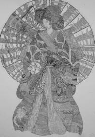Geisha – A Rachael Pollard inkon paper drawing.