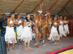 Katiwau group performing a dance at the Cultural Extravaganza held at the Amerindian Village, Sophia last week.