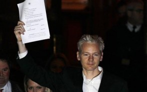 Julian Assange outside of the court today