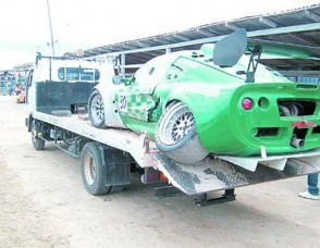 DAMAGED: The Williams Equipment Lotus Elise of Stuart Williams after the recently held international race meet in Guyana. (Trevor Thorpe)
