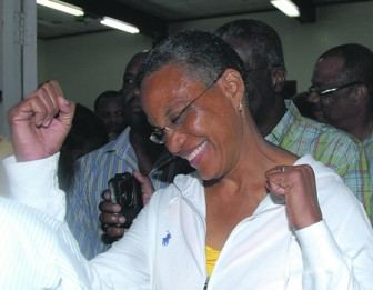 Mara celebrating last night. (Barbados Nation photo)