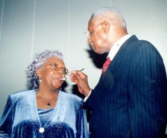 Joyce and Desmond Hoyte at a birthday celebration in the 90s