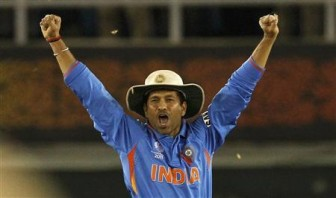 India's Sachin Tendulkar celebrates after India won their ICC Cricket World Cup 2011 semi-final match against Pakistan in Mohali March 30, 2011. Credit: REUTERS/Vivek Prakash