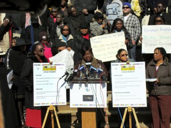 From left (foreground): Mildred Lowe, Judith Hall, and Antoinette Nesbit lead a protest in New York City as they complain about the failure of the Department of Education to honour promises made when recruiting Caribbean teachers to work in New York's public school system.From left (foreground): Mildred Lowe, Judith Hall, and Antoinette Nesbit lead a protest in New York City as they complain about the failure of the Department of Education to honour promises made when recruiting Caribbean teachers to work in New York's public school system. (Jamaica Gleaner photo)