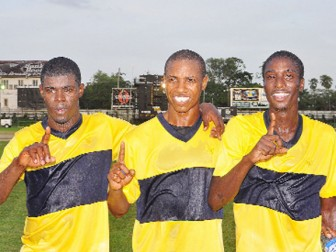 THREE THE HARD WAY! Alpha United's goal scorers (L-R): Dwight Peters, Anthony 'Awo' Abrams and Andrew Murray Jr.