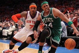Paul Pierce and the Boston Celtics managed to hold off Carmelo Anthony's New York Knicks on Sunday.