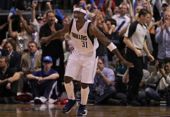 Jason Terry reacts after scoring a three pointer. He ended with 20 points as the Dallas Mavericks took a 3-2 lead over the Portland Trailblazers.