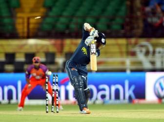 LET OFF! Kumar Sangakkara enjoyed a reprieve when he was bowled off a no-ball.