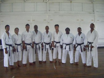 The Black Belts who took part in the GKC Grading Exam. From left to right: Roger Peroune, Claire Martelly, Eric Hing, Terrence Nicholas, Jeffrey Wong, Guy Low, Lavern Jones, Chetram Mortley and Penny Jaipersaud.