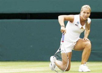 ON BENDED KNEE! Dominika Cilbulkova is half way out of the tournament following a barrage from Maria Sharapova yesterday.