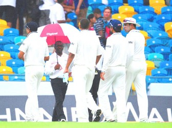 The covers came on as the players went off.