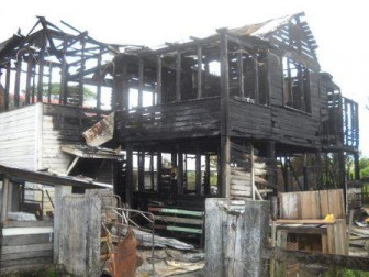 The fire-ravaged house (Tarick Pertab photo)