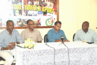 From left are Alfred King, Neil Kumar, Dr. Frank Anthony and Parliamentary Secretary in the Ministry of Culture, Youth and Sport, Steve Ninvalle during the media briefing yesterday.