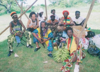 "Rastafarians ""hanging out"" on Emancipation Day."