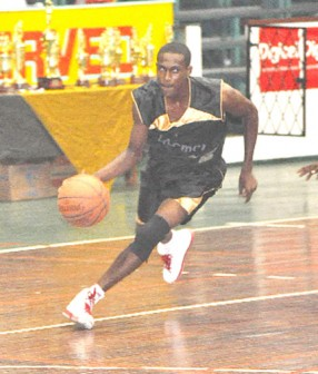 Marlon Pollydore begins to drive the lane during his game at the Cliff Anderson Sports Hall.