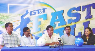Members of the head table updated media workers yesterday. From left are Kashif Mohammad, Yog Mahadeo, Noel Adonis, Royston Rachpaul and Nadia De Abreu of GT&T.